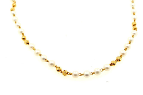 22k Gold Yellow 22ct Elegant PEARL DESIGNR CHAIN WITH Length 20inch c758