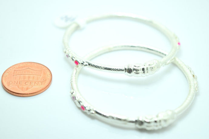 2PC HANDMADE Baby Solid Silver Bracelet 925 sb11 Sterling Children Bangle Cuff | Royal Dubai Jewellers