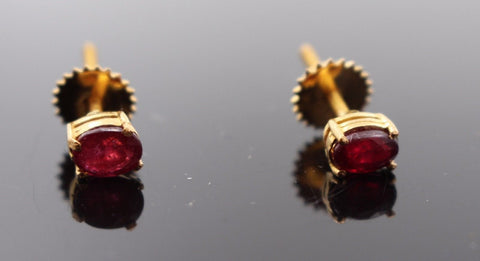 22k Jewelry Solid Gold ELEGANT Natural Ruby Stone Earrings Earring e2148