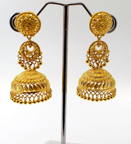 22k 22ct Jewelry Solid Gold ELEGANT LONG JHUMKE DANGLING Earring e5799