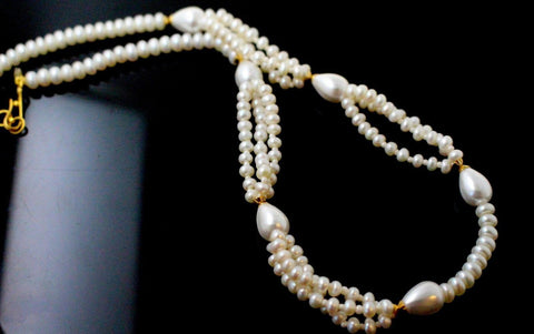 22k 22ct Chain Solid beautiful Gold Necklace natural pearls stones 16inch c903