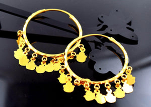 22k Jewelry Solid Gold ELEGANT Large HOOP EARRINGS 1.5 Inch Antique DESIGN mf