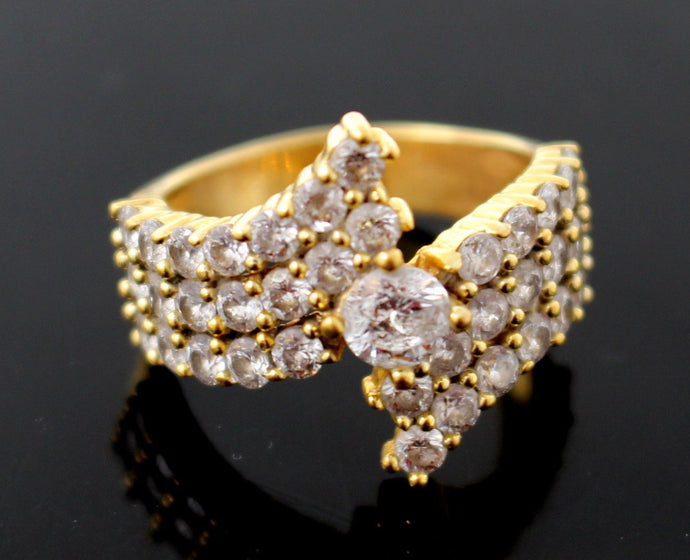 22k 22ct Solid Gold Elegant Ladies Ring Stone Design Size 8