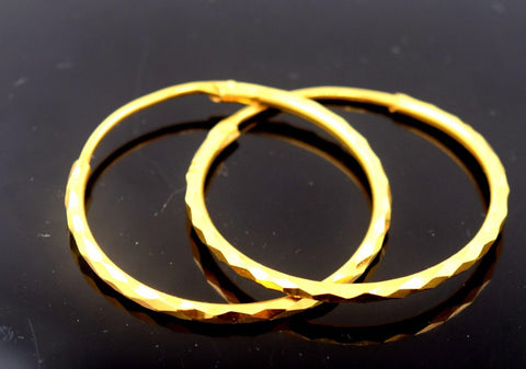 22k Solid Gold ELEGANT LARGE HOOP EARRINGS MODERN DESIGN E778