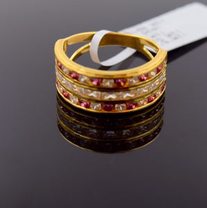 "22k 22ct Solid Gold STONE RUBY LADIES BAND Ring SIZE 7.2 ""RESIZABLE"" R689 