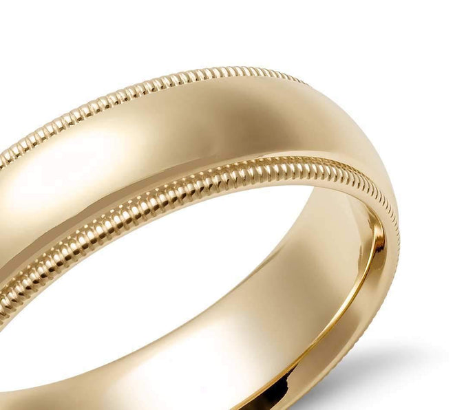14k Solid Gold Milgrain Comfort Fit Wedding Ring 6mm Custom Size Avaliable | Royal Dubai Jewellers
