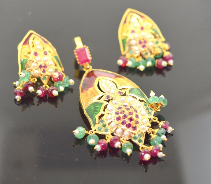 22k Solid Gold Ruby EMERALD PEARL ENAMEL Pendant Set Earrings Jadao S29