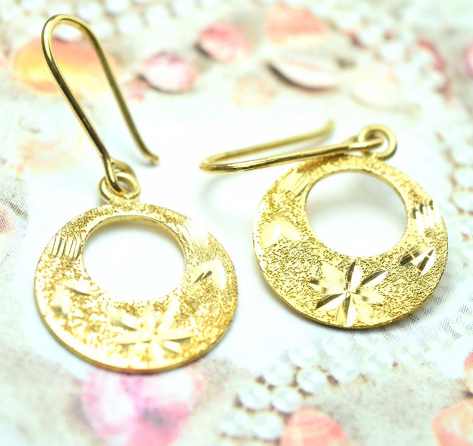 22k Solid Gold ELEGANT ROUND HOOK EARRINGS DANGLING Hanging Classic Design E279