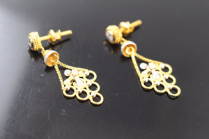 22k 22ct Solid Gold ELEGANT EARRINGS Floral Dangle Design E5093