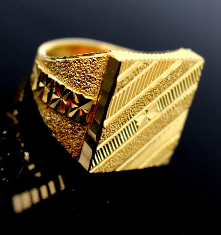"22k 22ct Solid Gold EXQUISITE SQUARE SHAPE MEN Ring ""RESIZABLE"" size11.0 R1611 