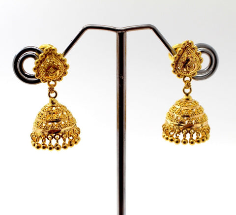22k 22ct Jewelry Solid Gold ELEGANT LONG JHUMKE DANGLING Earring e5800