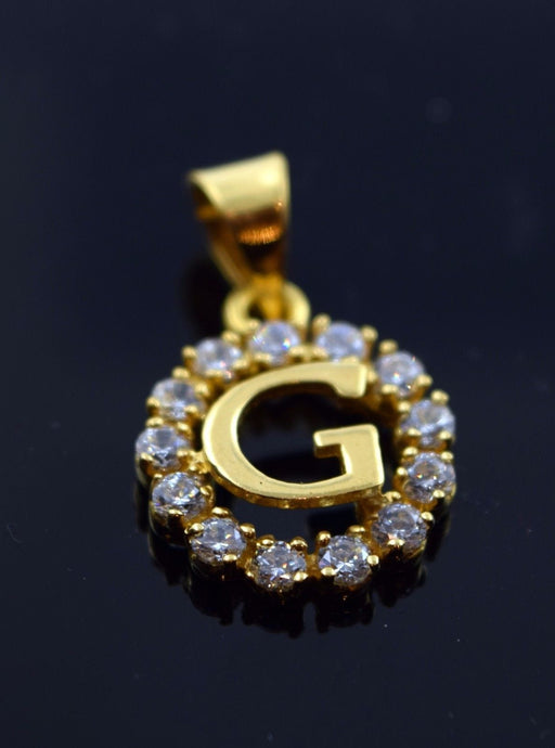 22k Jewelry Solid Gold Round Shape Pendent G letter with Stones pg4