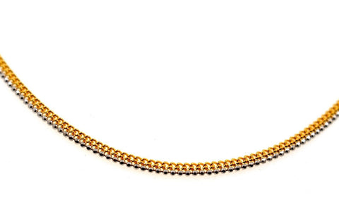 22k 22ct Yellow Solid Gold GORGEOUS SIMPLE FLAT TWO TONE CHAIN NECKLACE c936