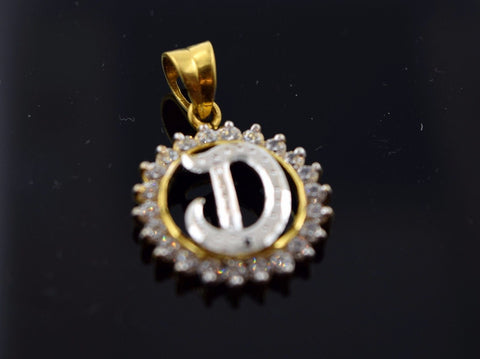 22k Solid Gold Round Shape Pendent D letter with Diamonelle p302