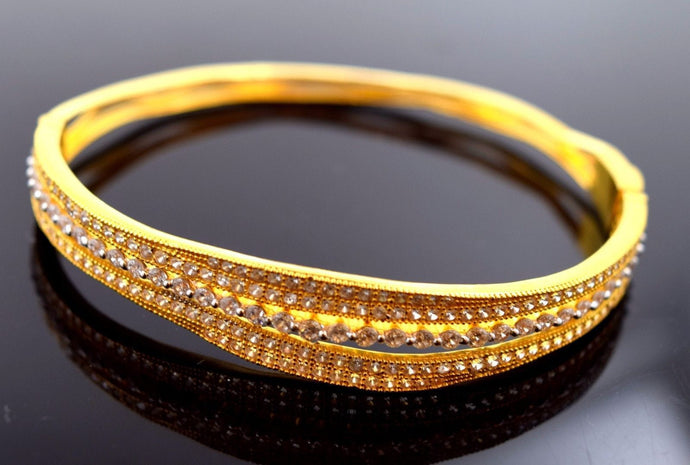 22k Solid Gold ELEGANT WOMEN BANGLE BRACELET MODERN DESIGN Size 2.5 inch B460 | Royal Dubai Jewellers