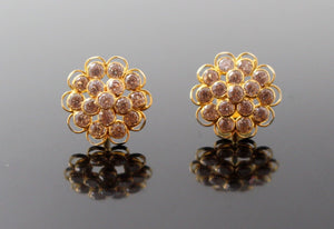 22k Jewelry Solid Gold ELEGANT Charm Earrings Round Flower Stone Design e5146