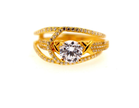 "22k 22ct Solid Gold DIAMOND CUT LADIES RING SIZE 7.0' RESIZABLE"" R1624"