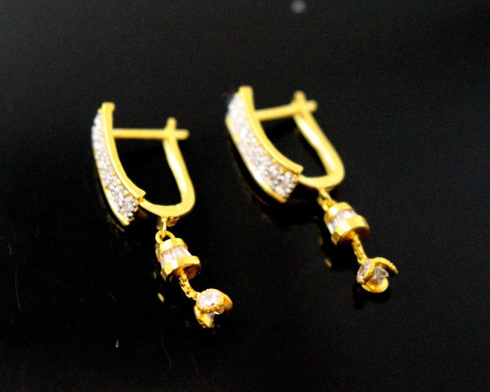 22k Jewelry Solid Gold ELEGANT ZIRCONIA CLUSTERED CLIP ON earrings studs e5498