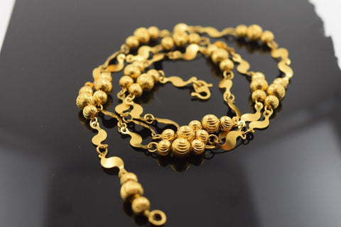 22k Yellow Solid Gold Chain Rope Necklace 4mm c130 Bead Design