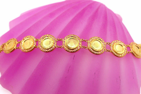 22k 22ct Solid Gold ELEGANT Ladies CHARM Queen Coins Bracelet B668