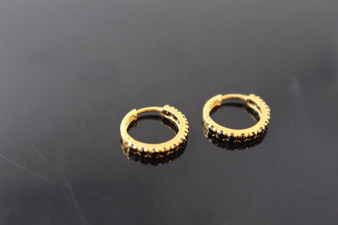 22k 22ct Solid Gold ELEGANT CLIP-ON HOOPS EARRINGS with Onyx Stones E5010