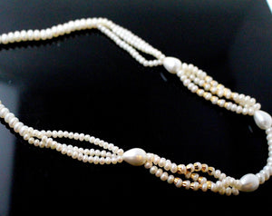22k 22ct Chain Solid beautiful Gold Necklace natural pearls stones 16inch c900
