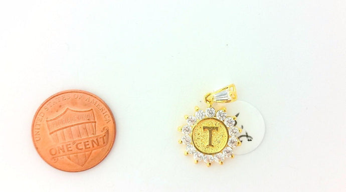 22k Solid Gold Round pendant with Diamonelle and letter T 8320