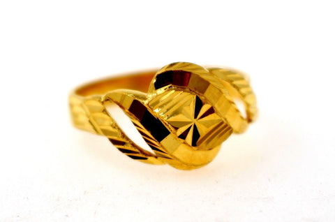"22k Solid Gold DESIGNER DIAMOND CUT LADIES RING SIZE 7.25 ""RESIZABLE"" R1603"