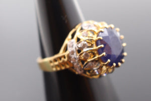 "22k Jewelry Solid Gold ELEGANT Blue Sapphire Ring Size 8.5 ""RESIZABLE"" R1014"