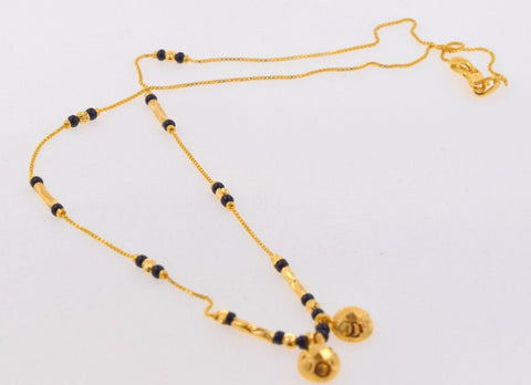 "22k Yellow Gold SIMPLE MODERN MANGALSUTRA BLACK BEADS HALF BALL Chain 16"" c448"