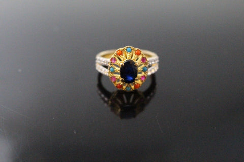 "22k 22ct Solid Gold ELEGANT Antique Ladies Stone Ring SIZE 7.0 ""RESIZABLE"" r1545"