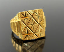 "22k 22ct Solid Gold Men Ring Simple Square Design SIZE 10.5 ""RESIZABLE"" R1309"