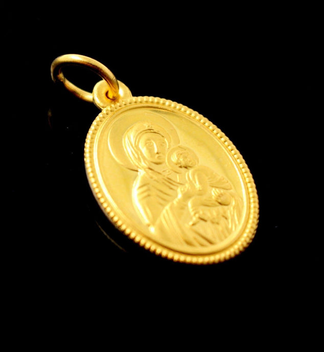 22k 22ct Solid Gold ELEGANT Oval Shape Christian LOCKET Pendant P826