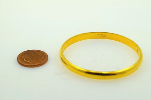 """CHOOSE YOUR SIZE"" 22k Solid Gold 5MM BABY BANGLE BRACELET Half Round kids mf"