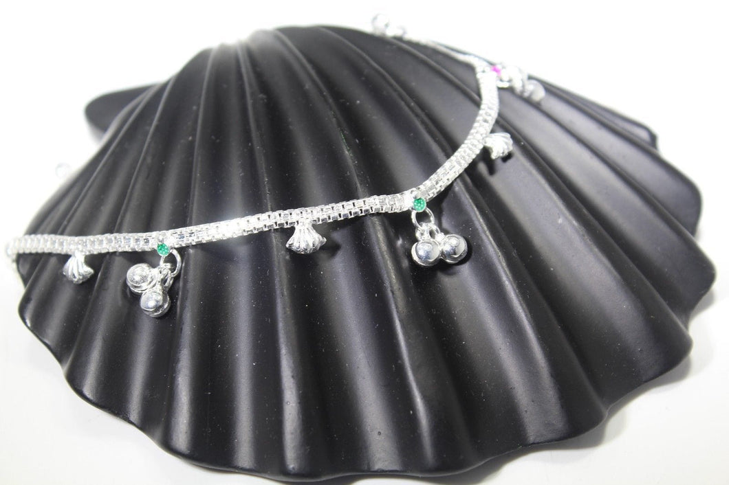 2PC HANDMADE Solid Silver Payal 925 sbb98 Sterling adult ladies Anklets | Royal Dubai Jewellers