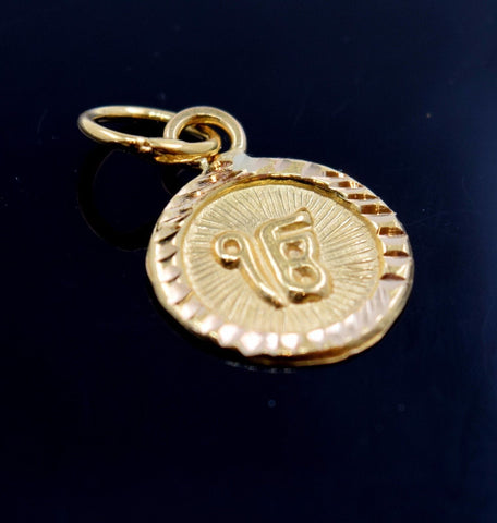 22k Solid Gold Sikh Religious onkar pendant charm locket p479 | Royal Dubai Jewellers