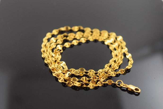 22k Yellow Solid Gold Chain Rope Necklace 2.5mm C159 with white diamond cut box