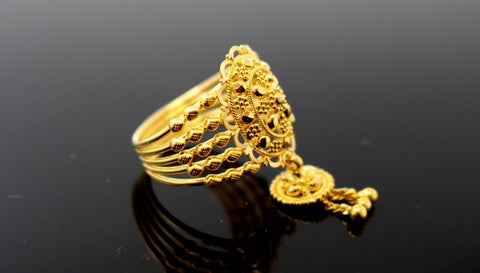 "22k 22ct Solid Gold DIAMOND CUT ANTIQUE LADIES RING SIZE 6.5' RESIZABLE"" R1636 