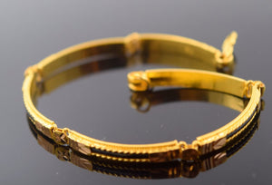 "22k Jewelry Solid Gold Fancy Lavish Bracelet 7"" Cuff Modern Design B479"