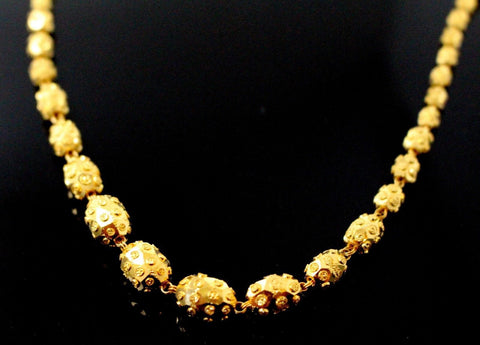 22k Yellow Solid Gold Chain Necklace Diamond Cut Ball Design Length 24 inch c834