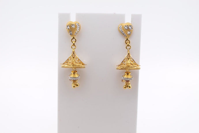 22k 22ct Solid Gold ELEGANT EARRINGS Floral Design Two Tone E5091