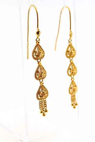 22k 22ct Solid Gold ELEGANT Earring Modern Charm Dangle Design e5149