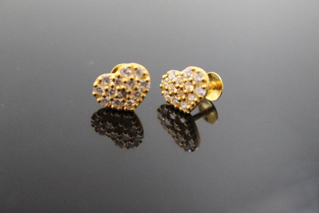 22k 22ct Solid Gold ELEGANT Heart TOPS EARRING Simple Floral Stone Design E5599