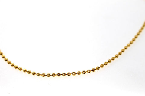 22k Chain Yellow Solid Gold Rope Necklace Simple Ball Design 1.80mm c847
