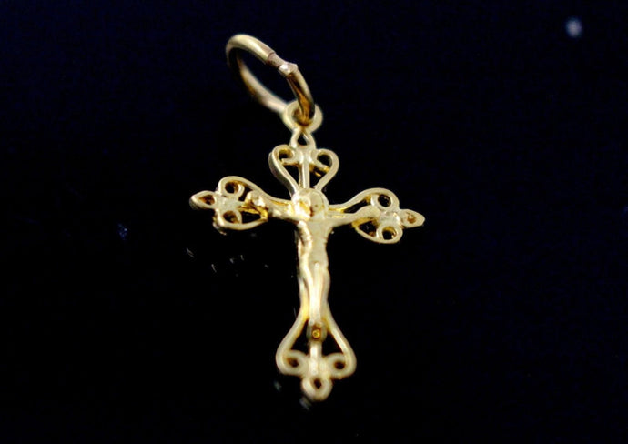 22k 22ct Solid Gold Christian Cross Pendant Charm Locket p1268