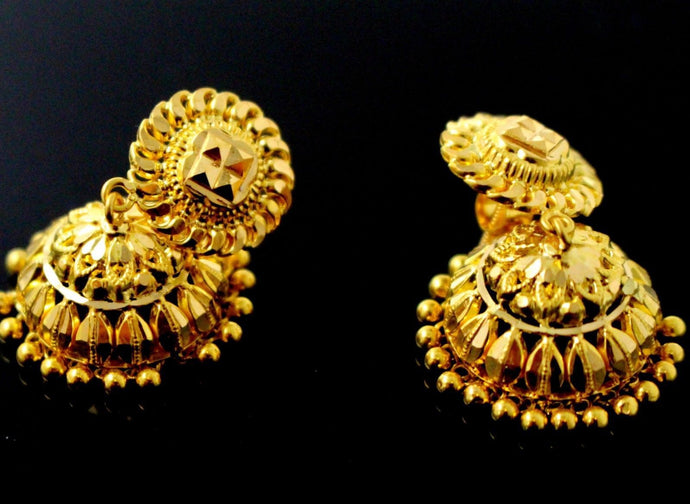 22k 22ct Jewelry Solid Gold JHUMKIE LONG JHUMKE DANGLING JHUMKA Earring E5886