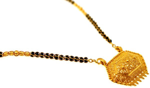 "22k 22ct Yellow Gold CLASSIC WOMEN MANGALSUTRA BLACK BEADS Chain 18"" c879 