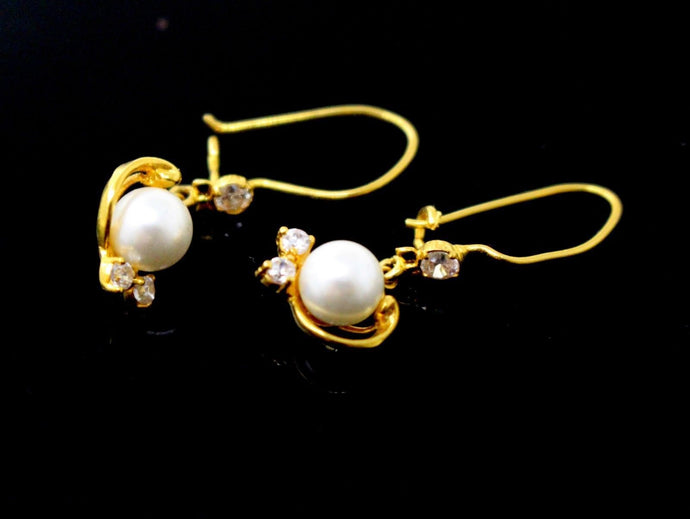 22k 22ct Solid Gold ELEGANT TRADITIONAL PEARL DANGLING Earring e5895
