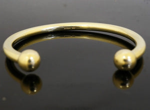 CUSTOM Handmade 22K Classic SOLID GOLD Ball torque Hallow pipe BANGLE BRACELET | Royal Dubai Jewellers