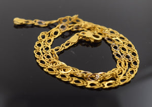 22k Yellow Solid Gold Chain Necklace 4.1mm c135 Square Box Design